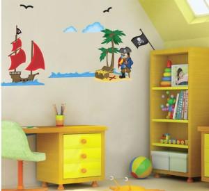 Sticker mural géant le monde des pirates trésor bateau drapeau